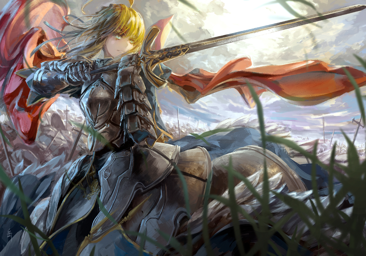 archlich armor blonde_hair fate/stay_night fate/zero grass green_eyes saber sword weapon