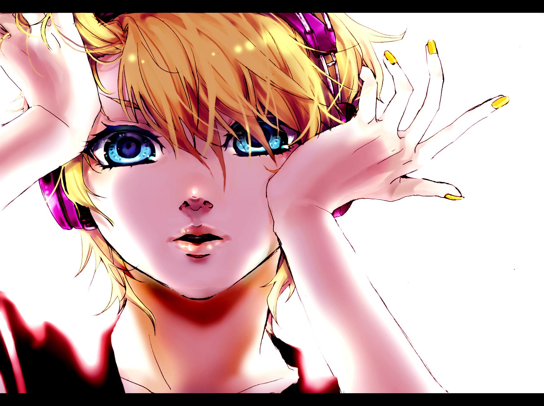 akiakane aliasing all_male aqua_eyes blonde_hair close headphones kagamine_len male migikata_no_chou_(vocaloid) polychromatic short_hair vocaloid white