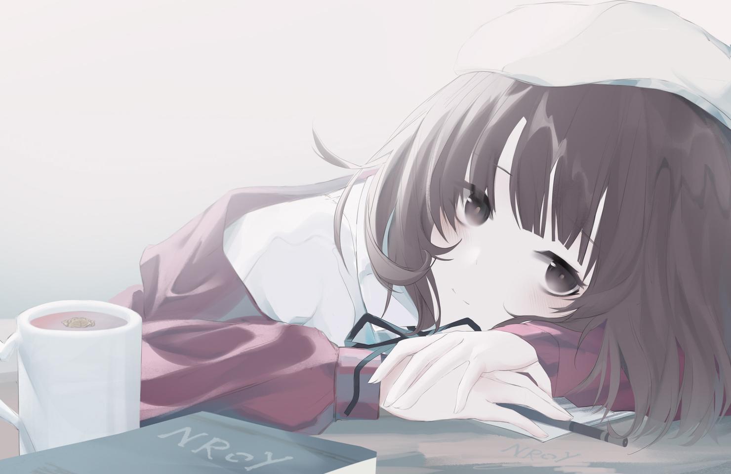 book brown_eyes brown_hair close drink katou_megumi nroy- paper polychromatic saenai_heroine_no_sodatekata
