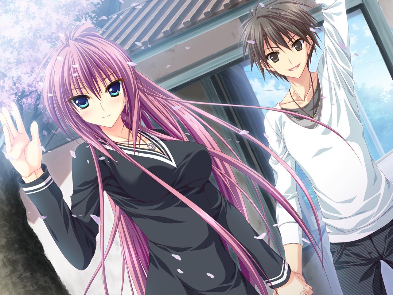 dress feng game_cg green_eyes hoshizora_e_kakaru_hashi naturalton necklace petals purple_hair sakai_hina