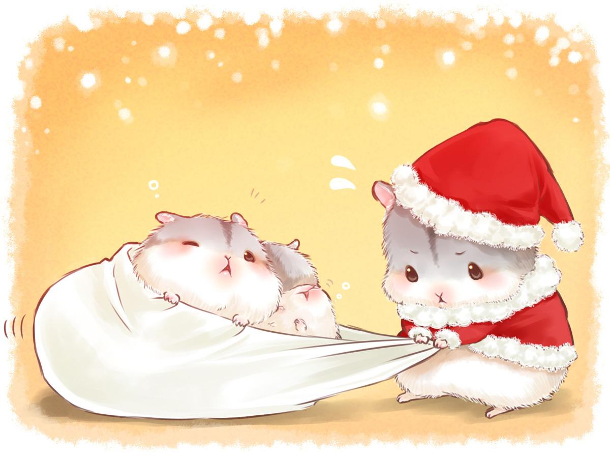 animal blush christmas hat nobody orange original santa_costume santa_hat sleeping wink yutaka_kana