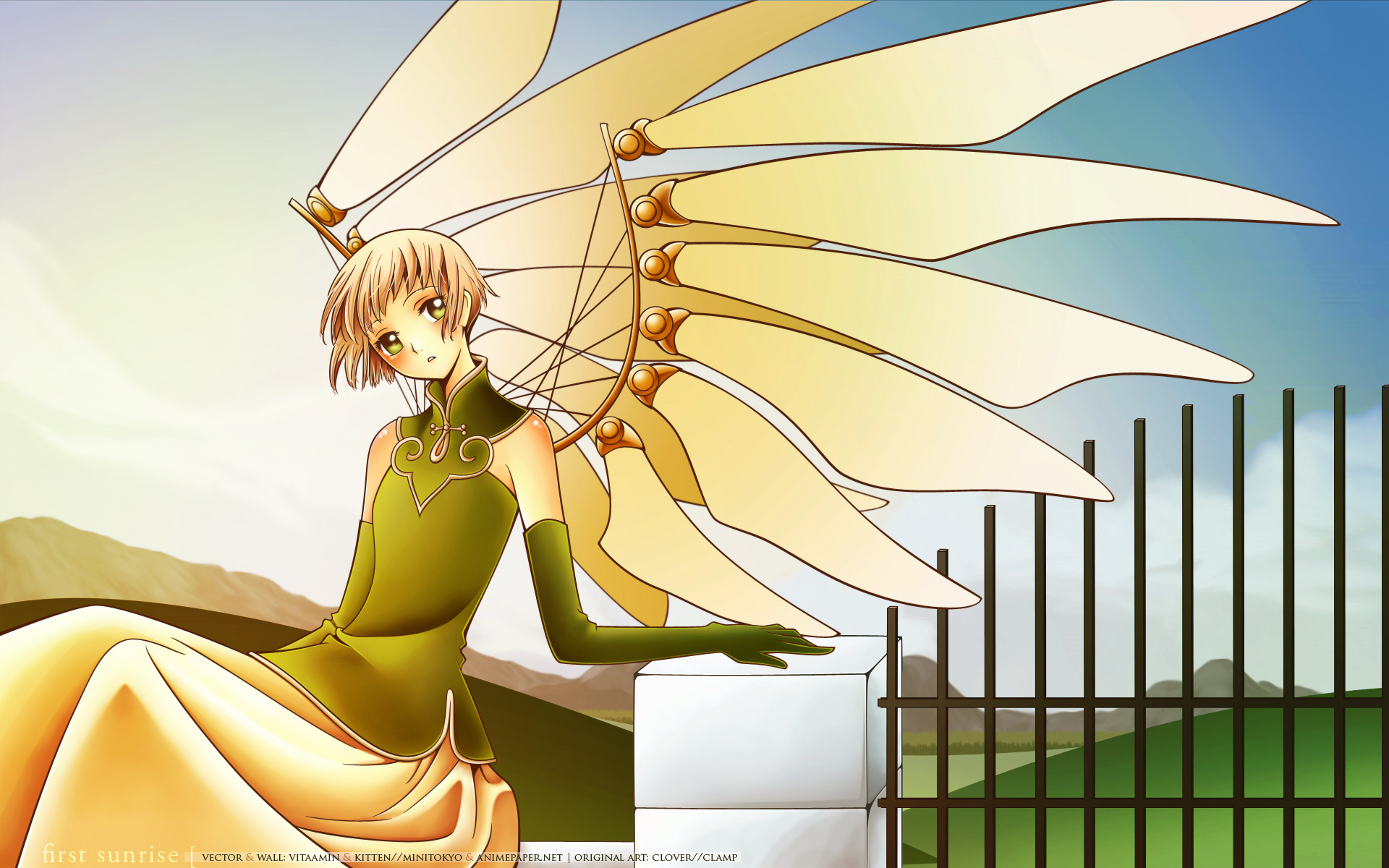 brown_hair clamp clouds clover dress elbow_gloves gloves green_eyes sky sue_(clover) wings