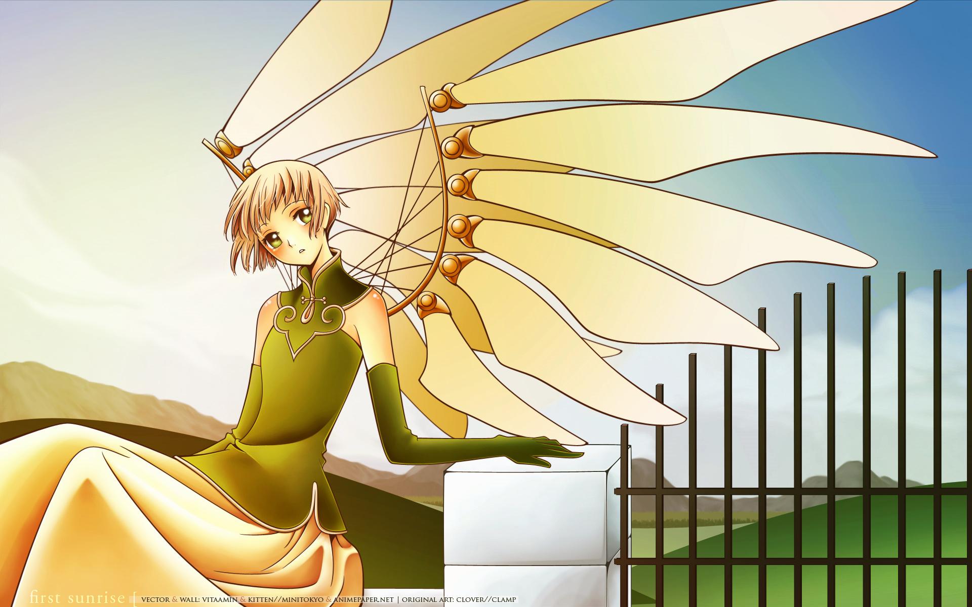 brown_hair clamp clouds clover dress elbow_gloves green_eyes sky suu wings