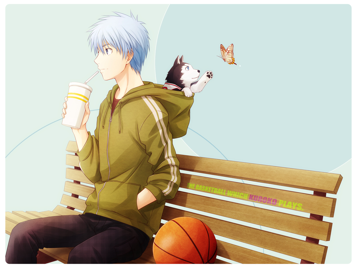 all_male animal arya_(artist) ball basketball blue_eyes blue_hair butterfly dog kuroko_no_basket kuroko_tetsuya male short_hair sport