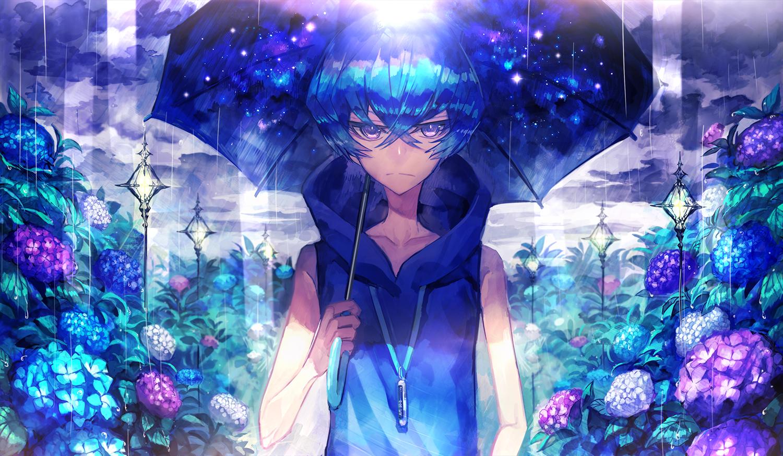 369minmin all_male blue blue_hair flowers male original rain short_hair umbrella water