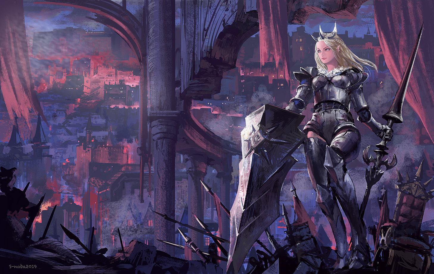 armor building crown noba original pixiv_fantasia spear watermark weapon