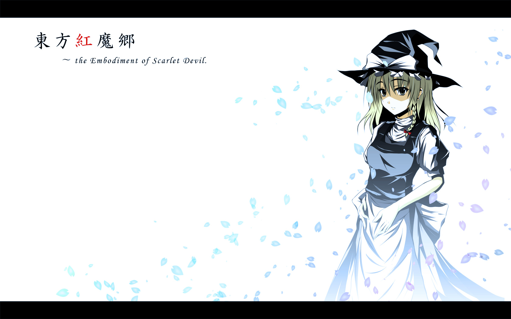 blonde_hair dress hat kirisame_marisa petals ribbons touhou white witch