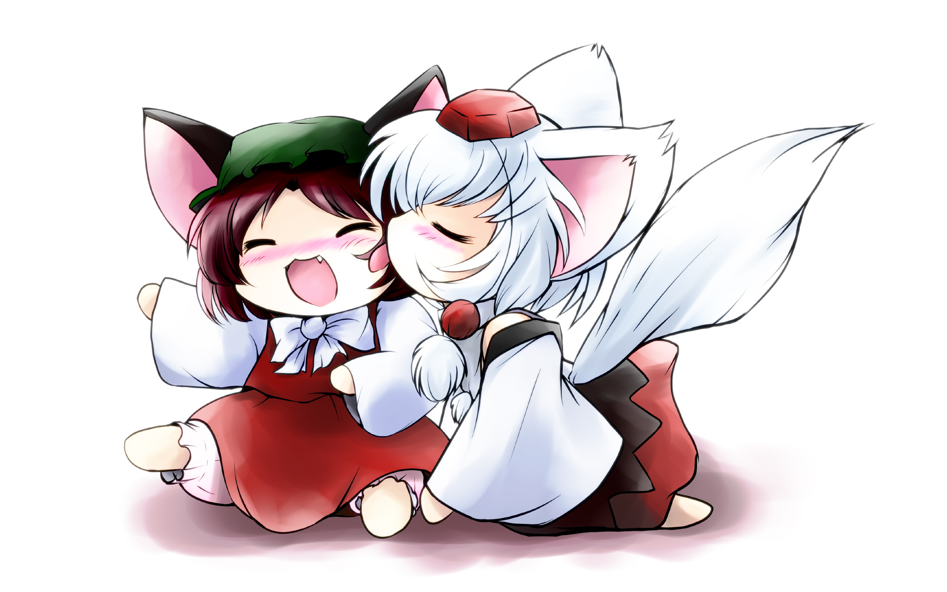 2girls animal_ears bloomers blush brown_hair catgirl chen chibi dress fang hat inubashiri_momiji japanese_clothes miko tail touhou white white_hair wolfgirl yume_shokunin