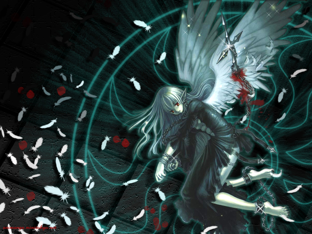 barefoot blood bondage chain cross feathers gothic long_hair pointed_ears red_eyes white_hair wings