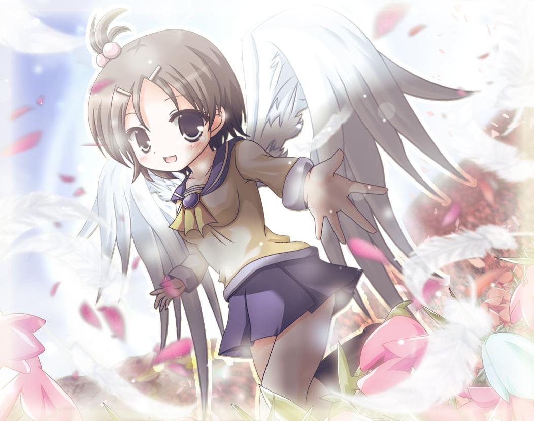 corpse_party feathers flowers loli school_uniform suzumoto_mayu wings