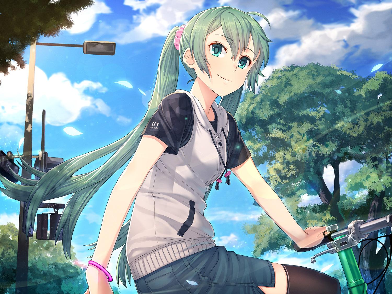 bicycle clouds hatsune_miku hoodie itou_(onsoku_tassha) kneehighs long_hair skirt tree twintails vocaloid wristwear