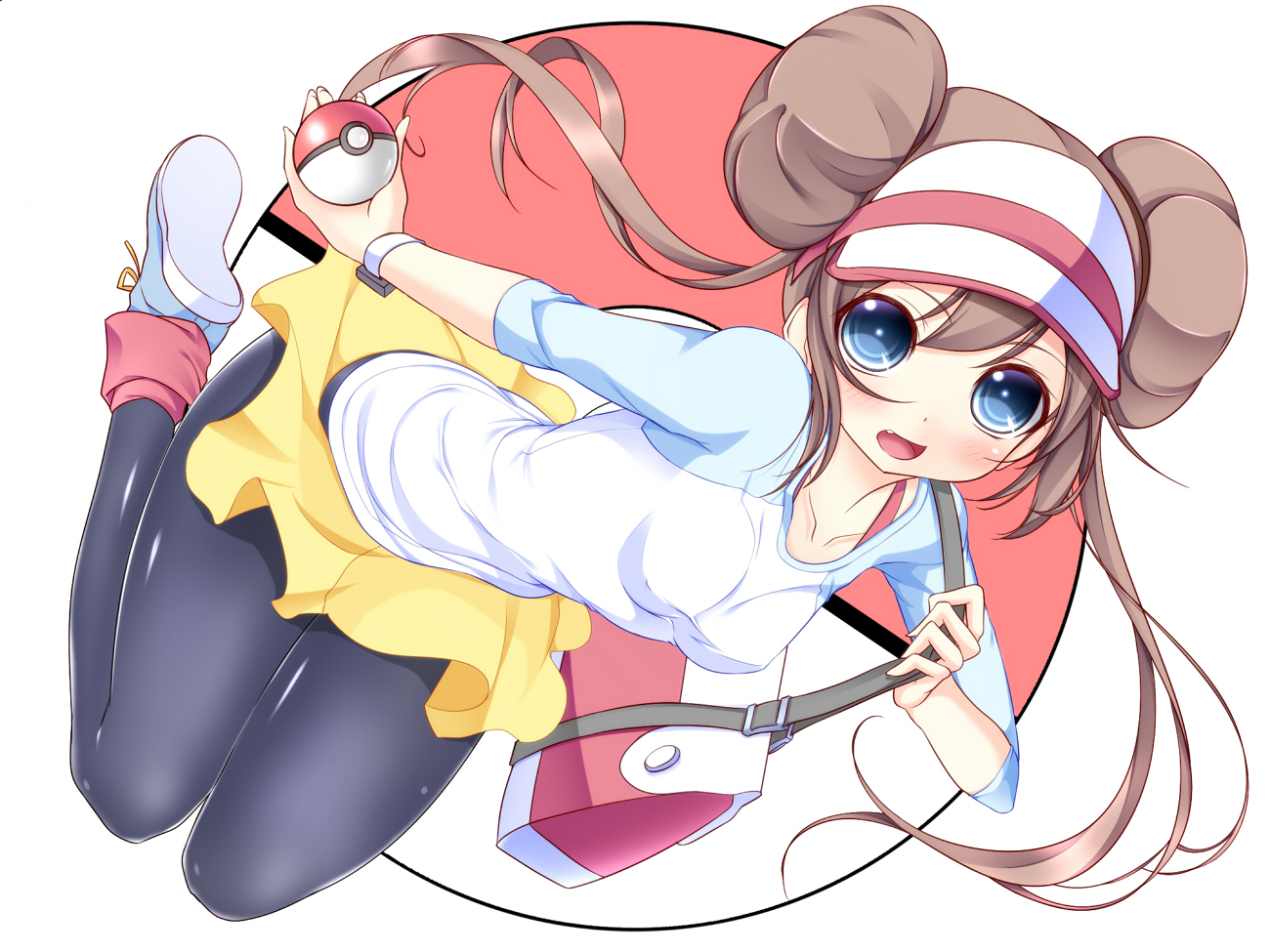 blue_eyes brown_hair mei_(pokemon) noumin pantyhose pokemon skirt twintails white