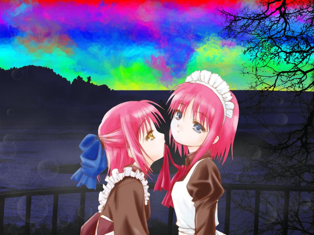 blue_eyes bow headdress hisui kohaku maid pink_hair ribbons shingetsutan_tsukihime short_hair shoujo_ai twins yellow_eyes