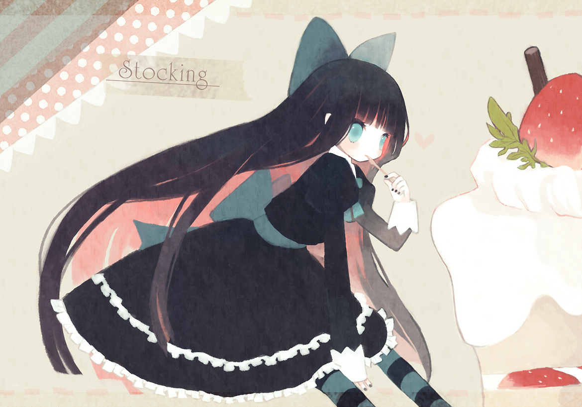 black_hair blue_eyes bow cake dress kashiwaba_hisano long_hair panty_&_stocking_with_garterbelt stocking_(character) strawberry