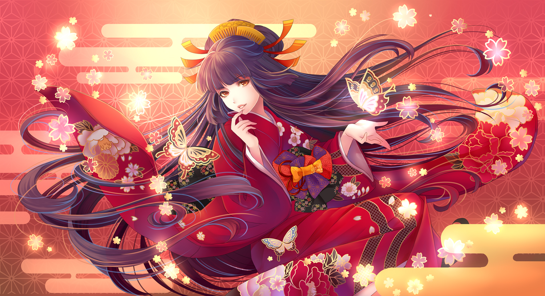 brown_hair butterfly headdress japanese_clothes kimono long_hair orange_eyes original tagme_(artist)