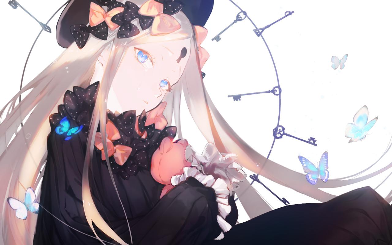 abigail_williams_(fate/grand_order) aqua_eyes blonde_hair bow butterfly dress fate/grand_order fate_(series) goth-loli hat loli lolita_fashion long_hair teddy_bear yaku_(ziroken)