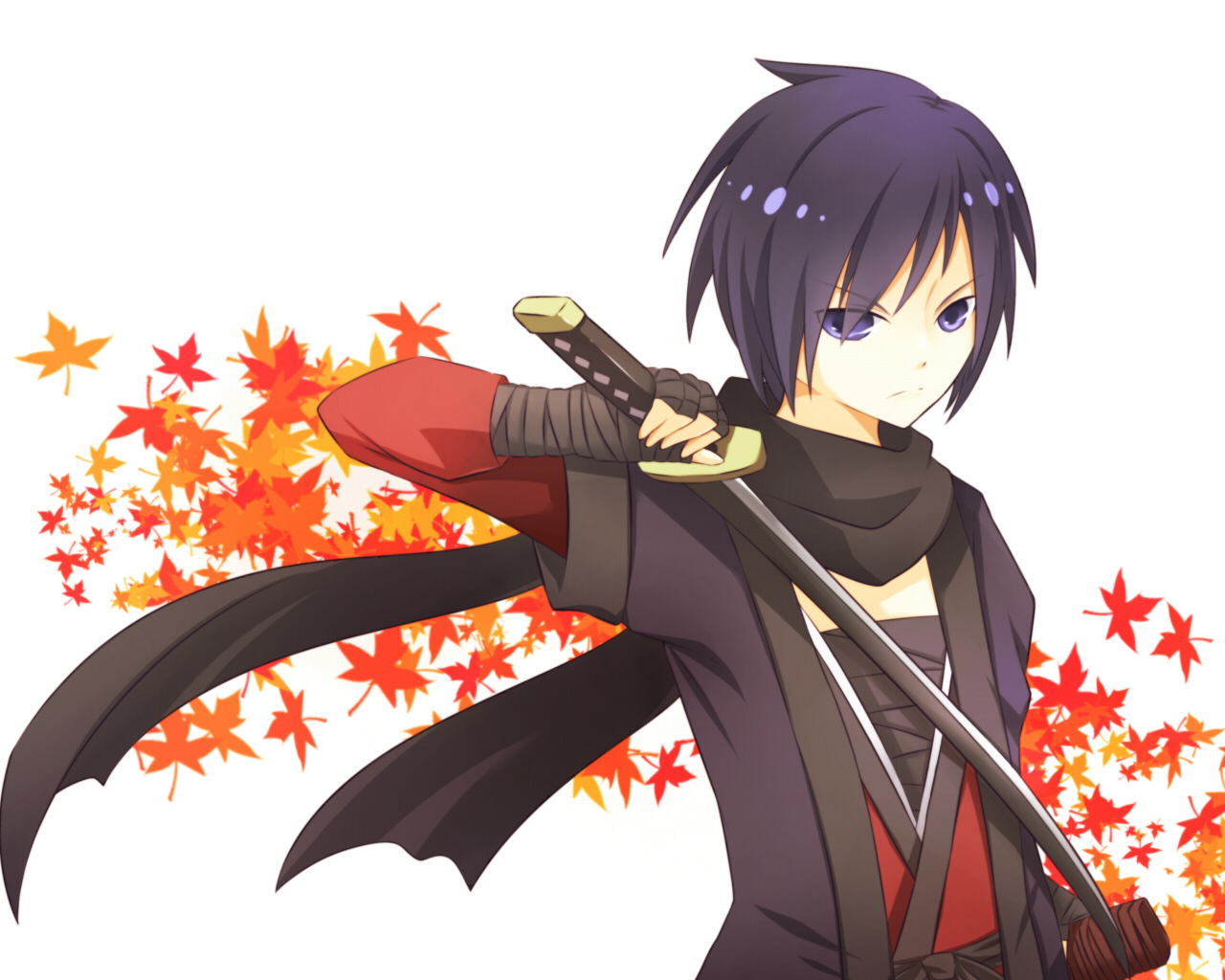bandage black_eyes black_hair japanese_clothes kaito katana scarf short_hair sword vocaloid weapon