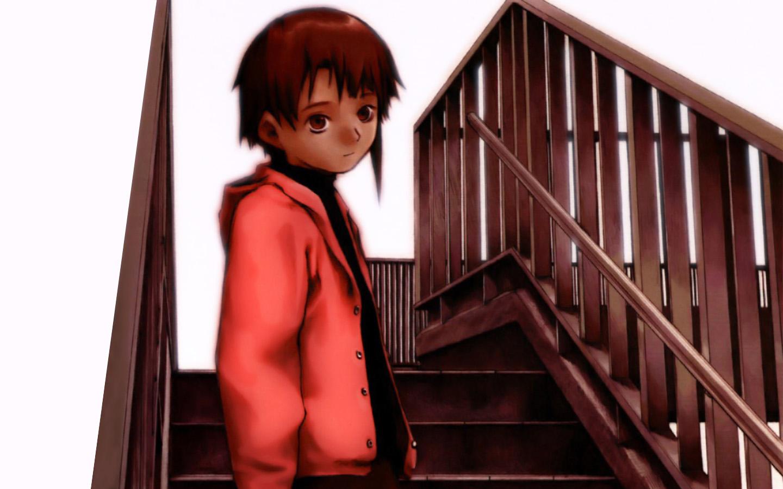 abe_yoshitoshi brown_eyes brown_hair iwakura_lain polychromatic serial_experiments_lain short_hair stairs