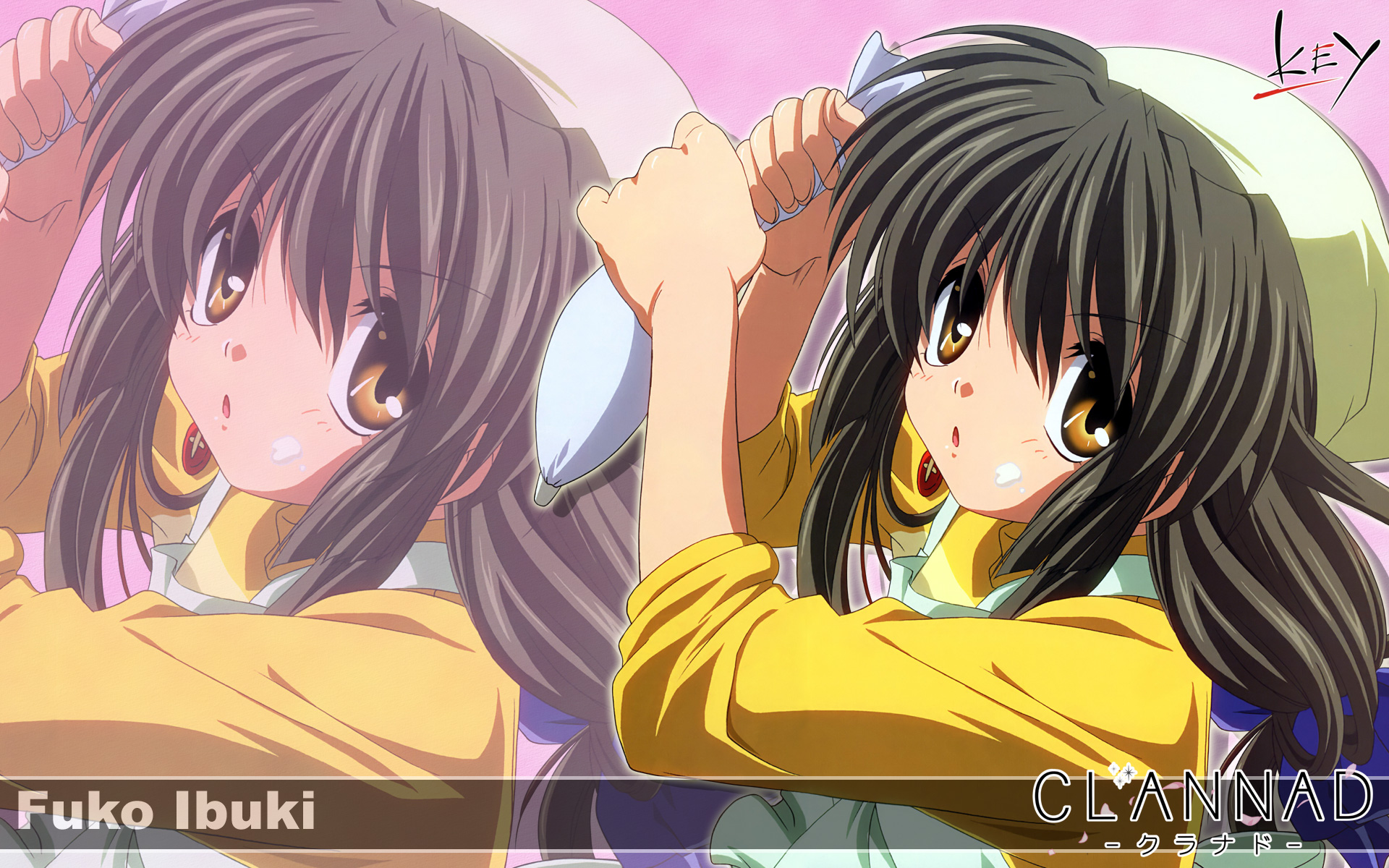 brown_hair clannad ibuki_fuuko key logo long_hair yellow_eyes zoom_layer
