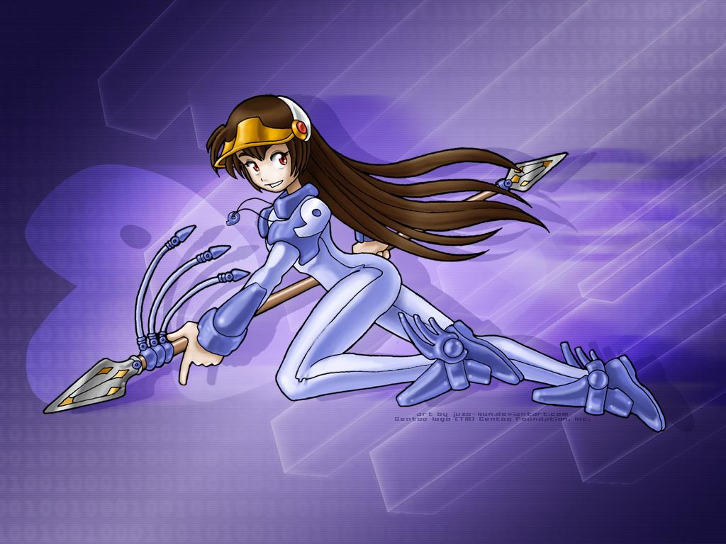 anthropomorphism gentoo juzo-kun linux os-tan spear weapon