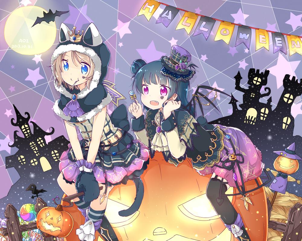 2girls animal animal ears aqua eyes bat brown hair candy ...