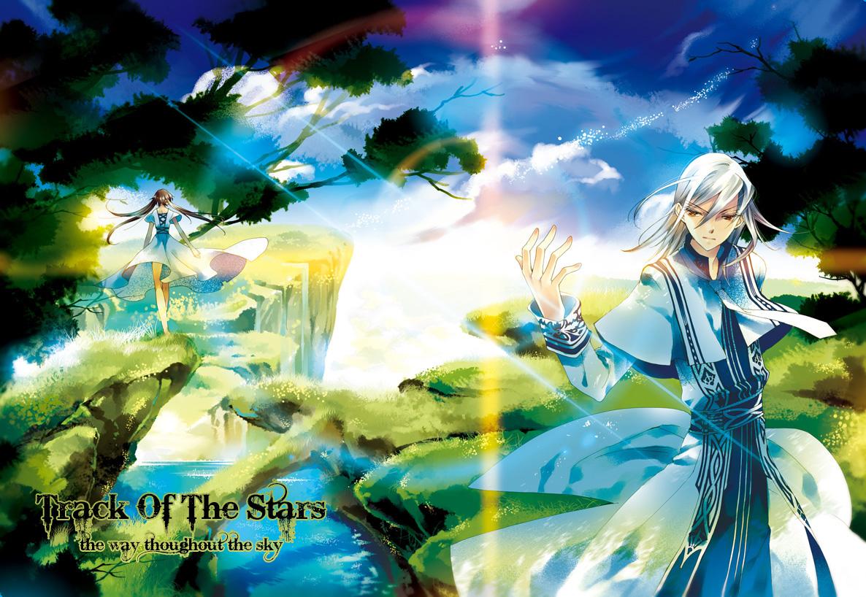 blonde_hair brown_hair clouds dress long_hair sky tree