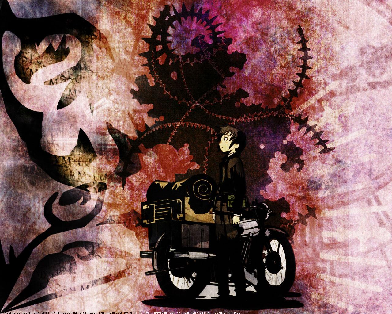 black_hair hermes kino kino_no_tabi kuroboshi_kouhaku motorcycle short_hair watermark