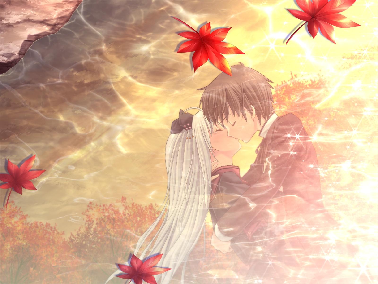 game_cg kiss kitto_todoku_sumiwataru_asairo_yori_mo kumigami_hiyo leaves propeller water white_hair yasuyuki