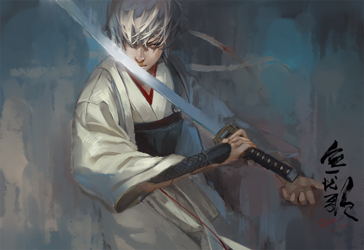 all_male gintama gray_hair japanese_clothes katana male red_eyes sakata_gintoki sword weapon xiayu93