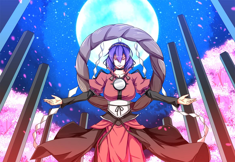 dream_demon flowers moon petals purple_hair red_eyes sky touhou yasaka_kanako