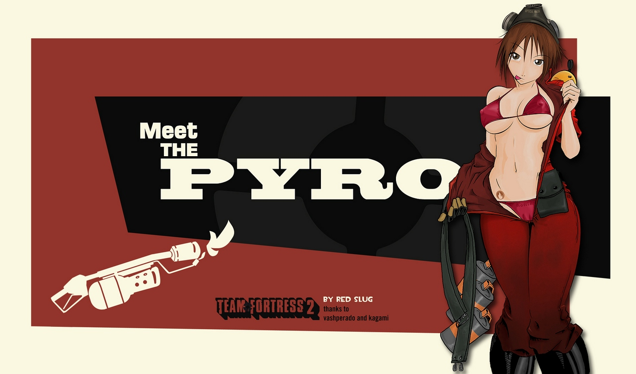 breasts brown_eyes brown_hair erect_nipples open_shirt red tattoo team_fortress_2 the_pyro weapon white