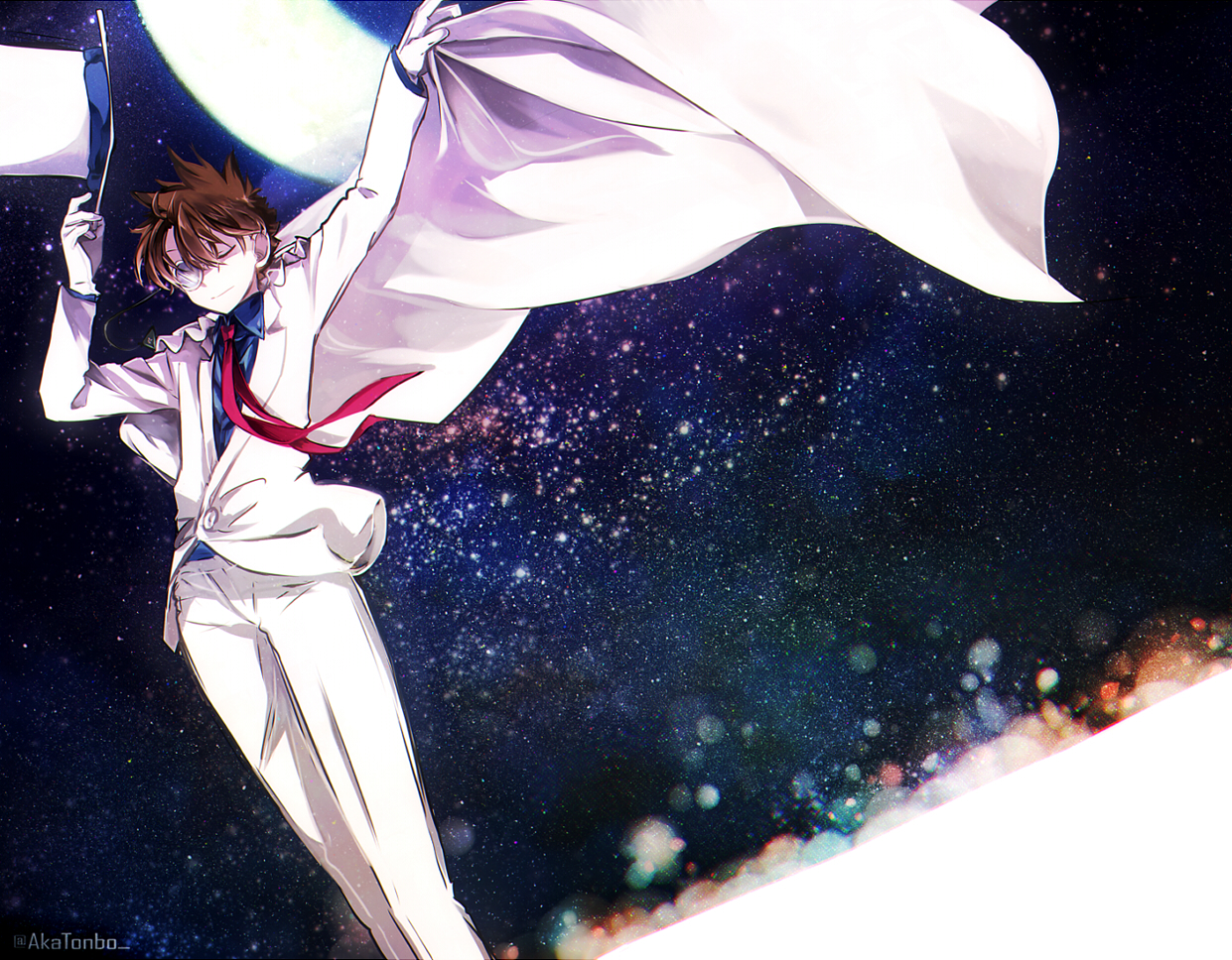 aka_tonbo_(lovetow) all_male brown_hair cape detective_conan edogawa_conan gloves hat magic_kaito male night short_hair stars suit tie