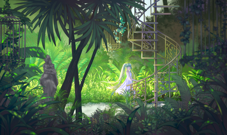 aqua_hair cage dress hatsune_miku hei_yu leaves long_hair stairs summer_dress tree twintails vocaloid