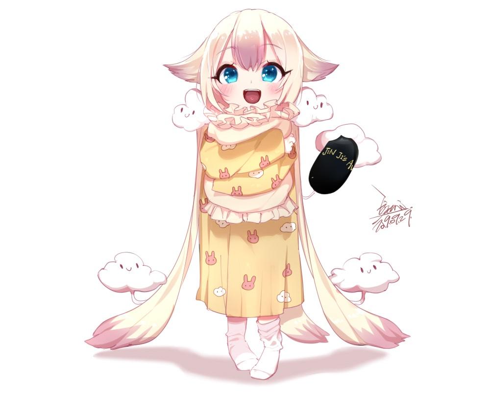 aqua_eyes blonde_hair blush clouds ejami hug loli long_hair mahou_shoujo_ikusei_keikaku pajamas sanjou_nemu signed socks twintails vrchat white