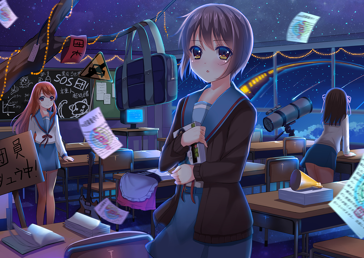 asahina_mikuru book brown_eyes brown_hair guitar instrument long_hair nagato_yuki nine_wangwang orange_eyes orange_hair paper purple_hair ribbons school_uniform short_hair stars suzumiya_haruhi suzumiya_haruhi_no_yuutsu train