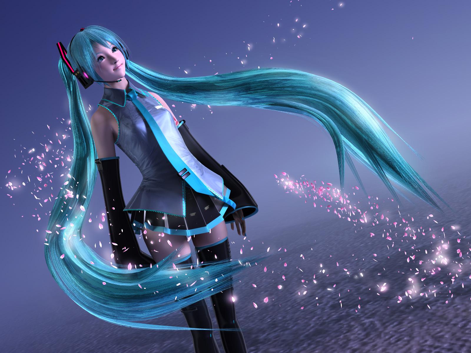 3d aqua_eyes aqua_hair blue hatsune_miku headphones long_hair thighhighs tie twintails vocaloid