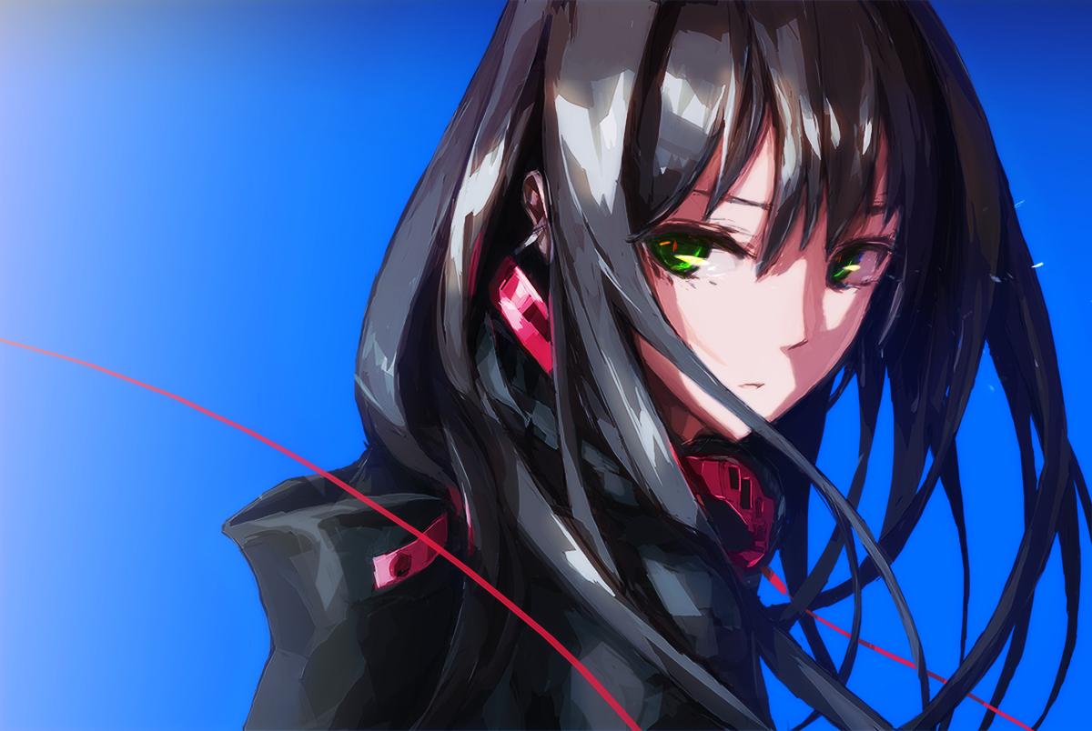Black Hair Green Eyes Headphones Idolmaster Idolmaster