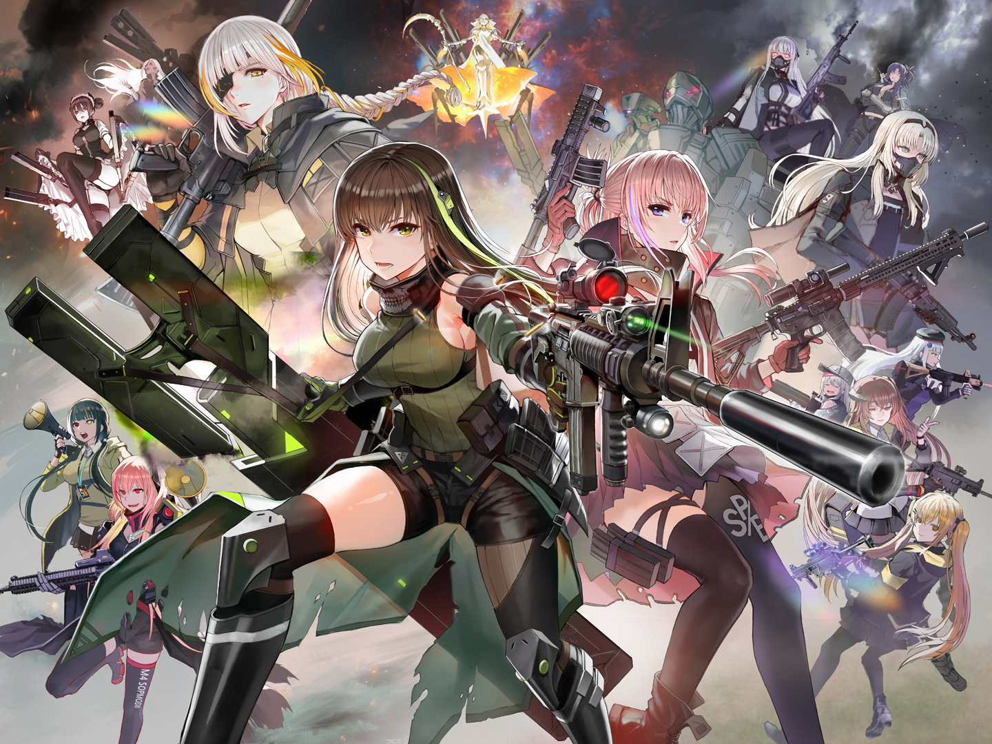 agent_(girls_frontline) ak12_(girls_frontline) an94_(girls_frontline) angelia_(girls_frontline) anthropomorphism bicolored_eyes boots braids breasts brown_eyes brown_hair elisa_(girls_frontline) g11_(girls_frontline) girls_frontline gloves group gun hat hk416_(girls_frontline) long_hair m16a1_(girls_frontline) m4a1_(girls_frontline) m4_sopmod_ii_(girls_frontline) nyto_polarday_(girls_frontline) pantyhose pink_hair ponytail purple_eyes red_eyes ro635_(girls_frontline) shorts skirt st_ar-15_(girls_frontline) taesi thighhighs twintails ump-45_(girls_frontline) ump-9_(girls_frontline) weapon white_hair wink yellow_eyes