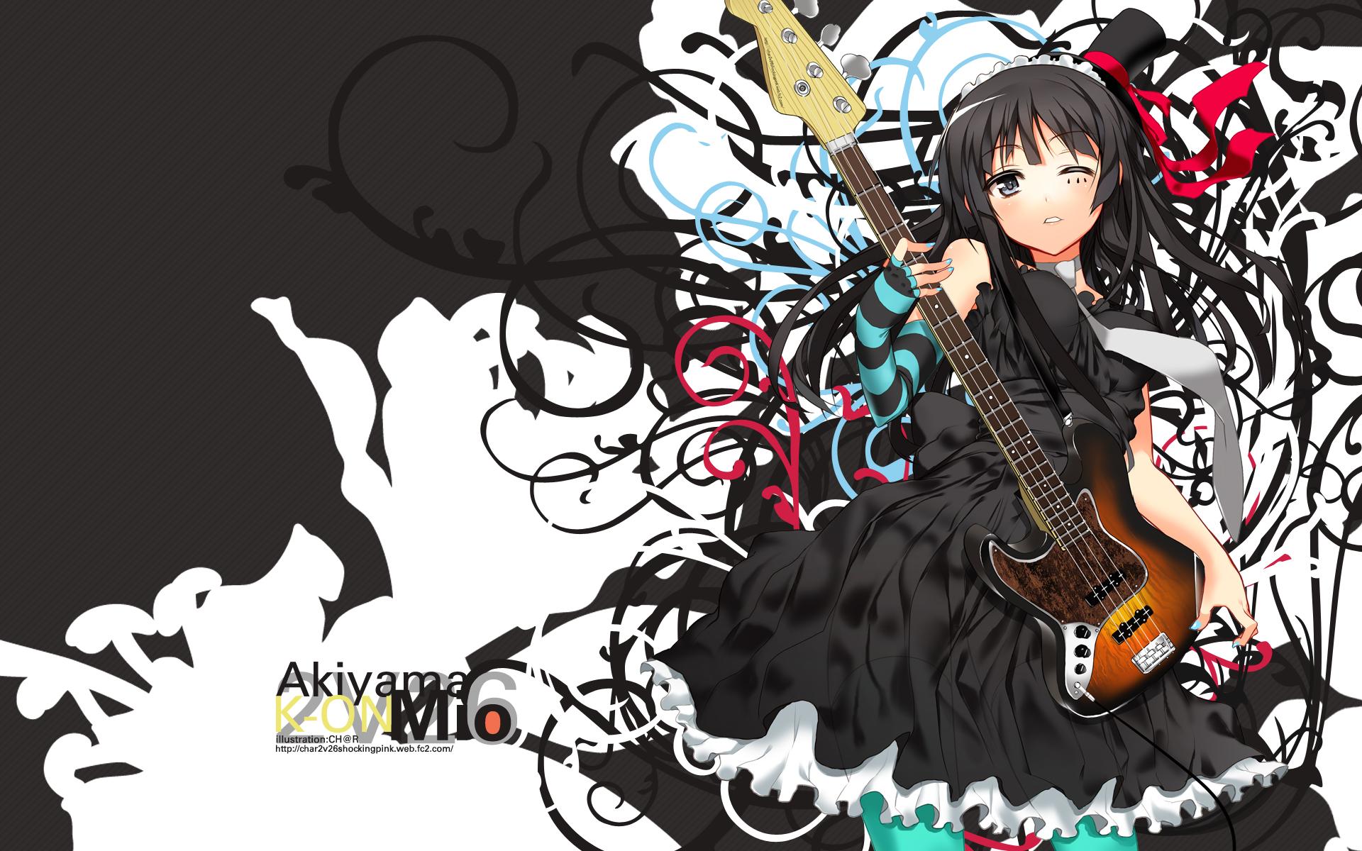 akiyama_mio black_eyes black_hair ch@r dress gloves guitar instrument k-on! long_hair tie