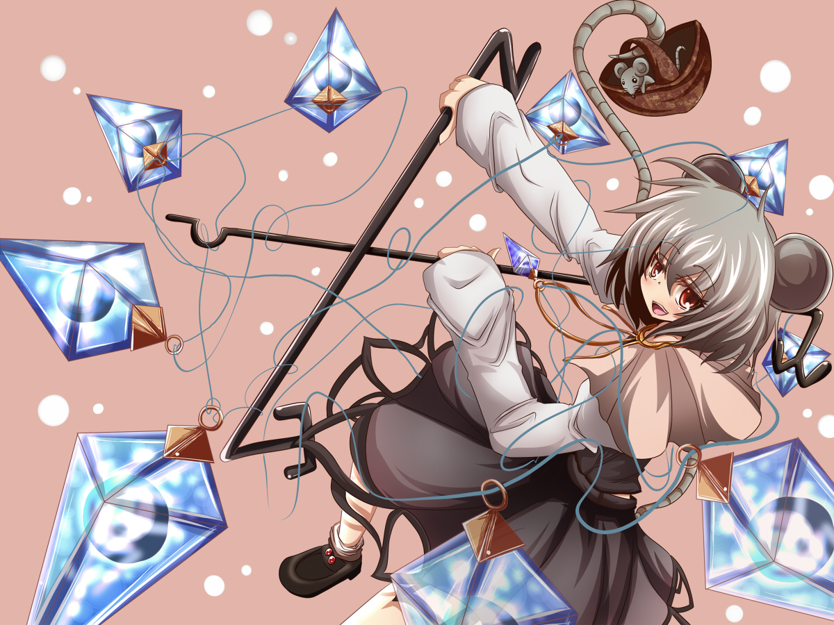 animal animal_ears gray_hair mouse mousegirl nazrin red_eyes short_hair tail touhou weapon