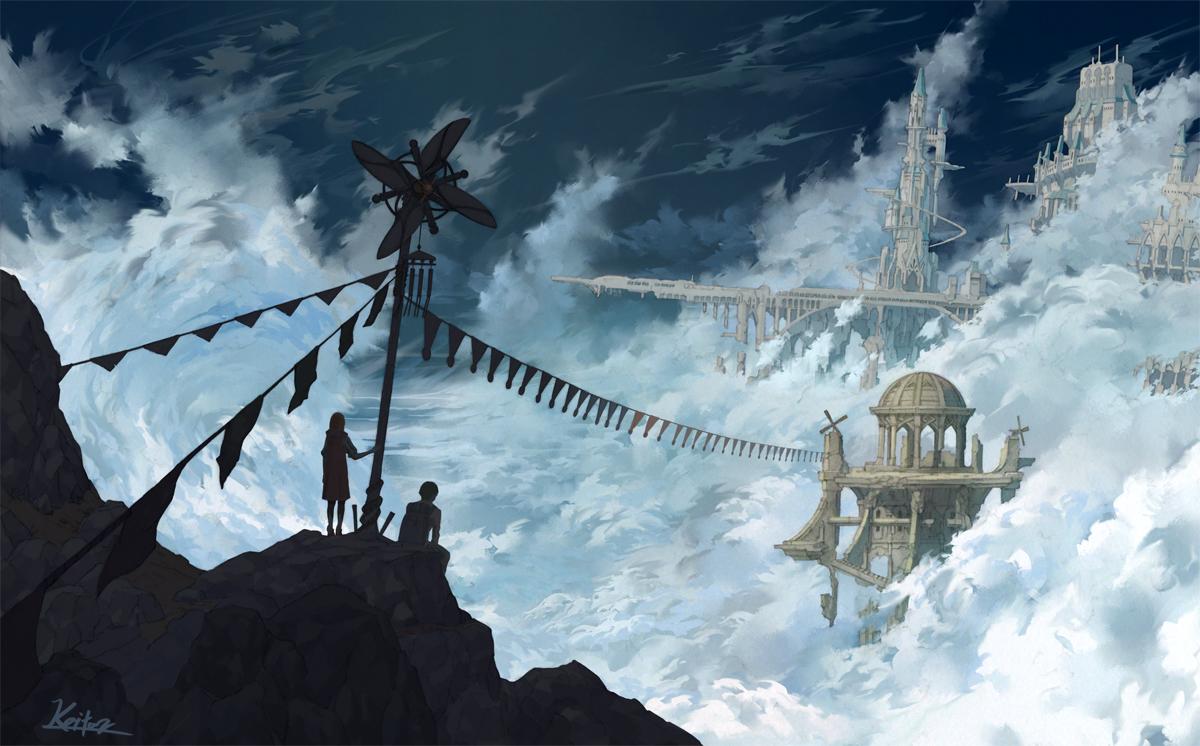 building clouds kaitan male original scenic signed silhouette sky windmill