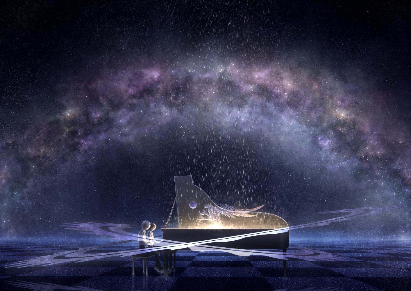 all_male arsh_(thestarwish) ikari_shinji instrument male nagisa_kaworu neon_genesis_evangelion original piano scenic stars