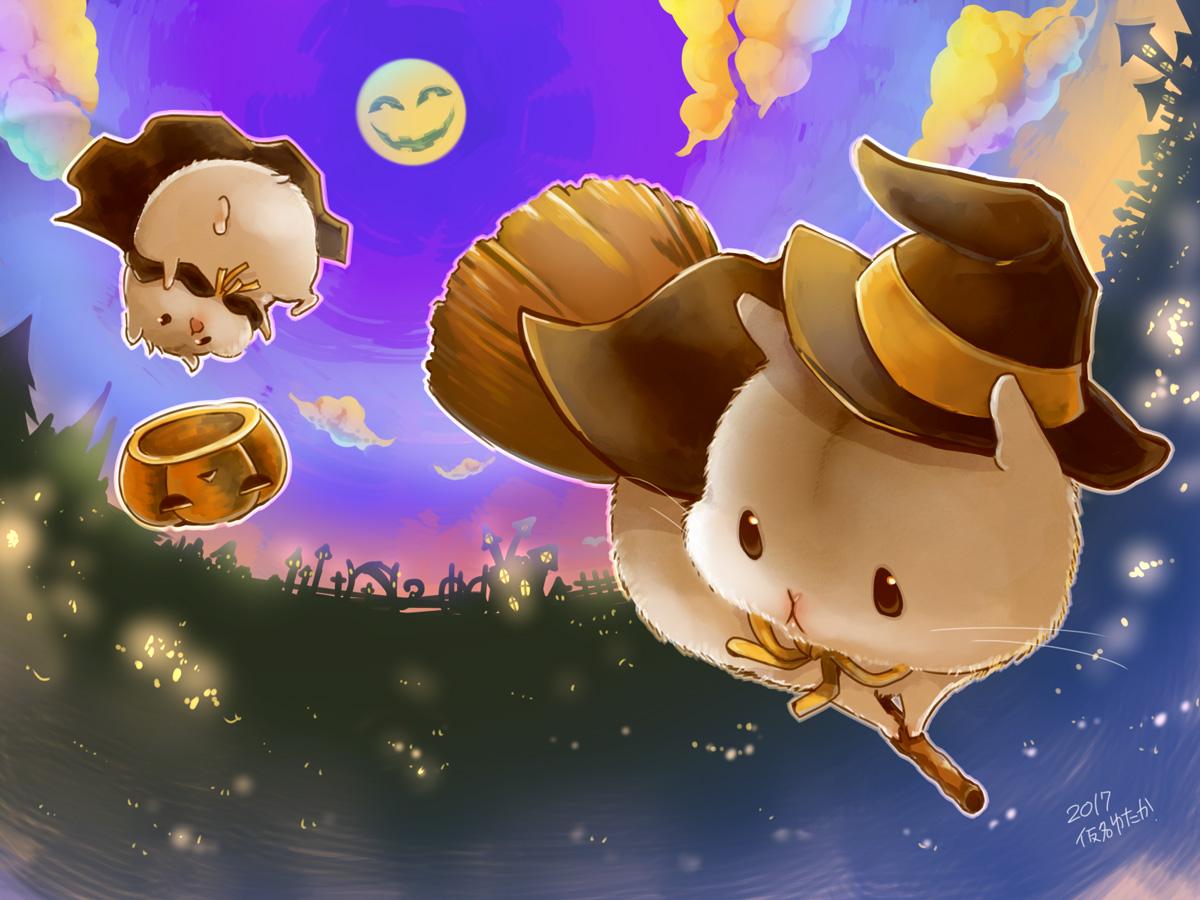animal cape clouds hat moon night original pumpkin signed sky witch_hat yutaka_kana