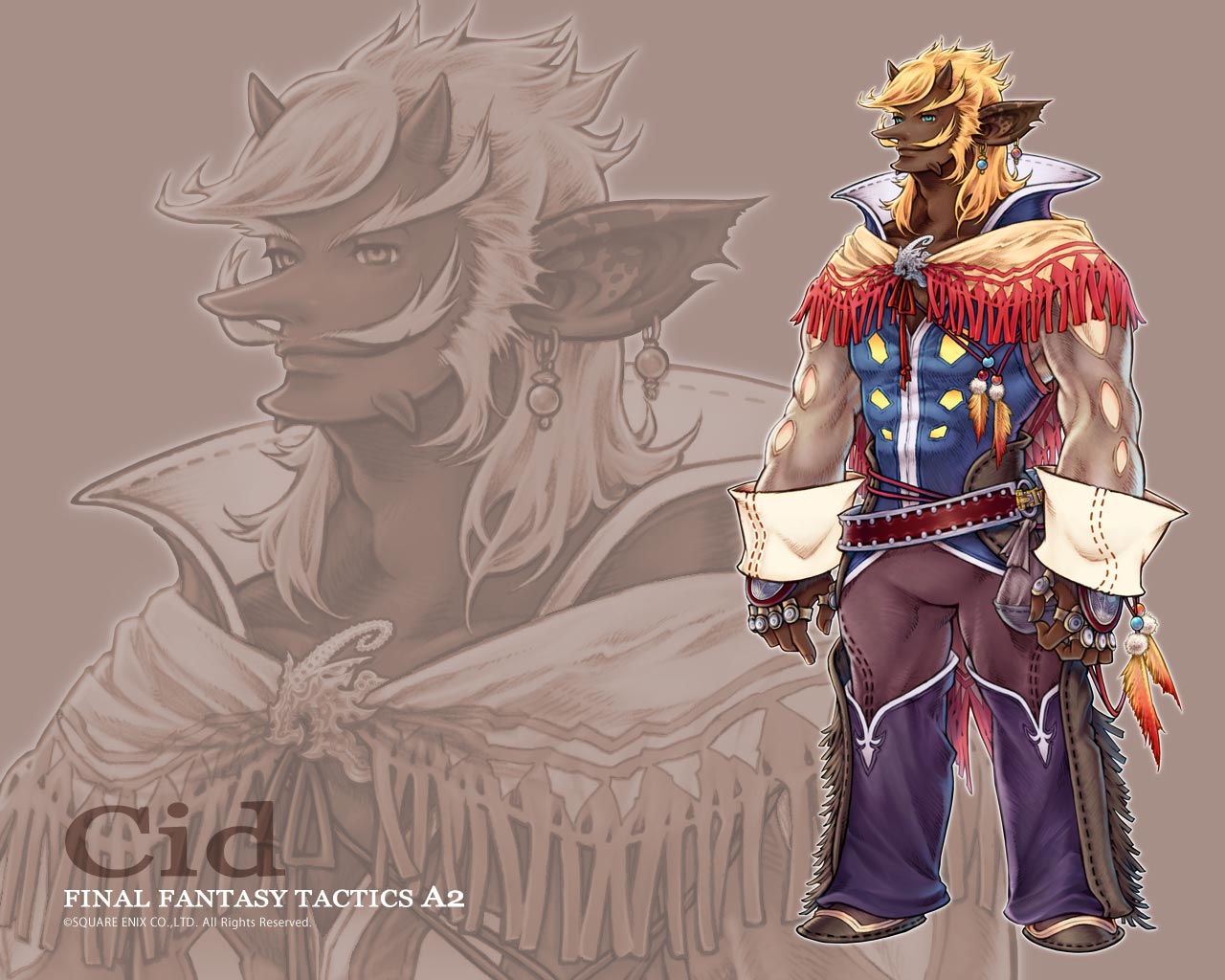 all_male blonde_hair cid feathers final_fantasy final_fantasy_tactics_a2 gray_eyes horns male short_hair watermark zoom_layer