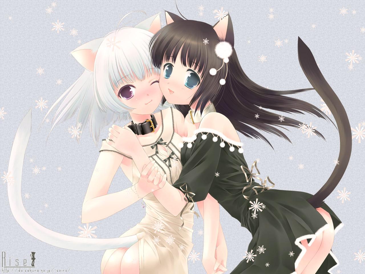 animal_ears ass black_hair blue_eyes catgirl collar purple_eyes ribbons snow tail touto_seiro white_hair