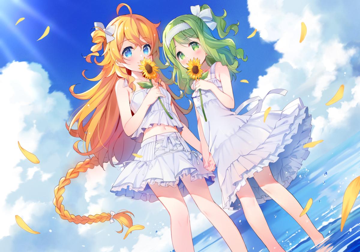 2girls aqua_eyes braids clouds dress flowers green_eyes green_hair long_hair meito_(maze) morinaka_kazaki navel nijisanji orange_hair otogibara_era petals skirt sky sunflower water