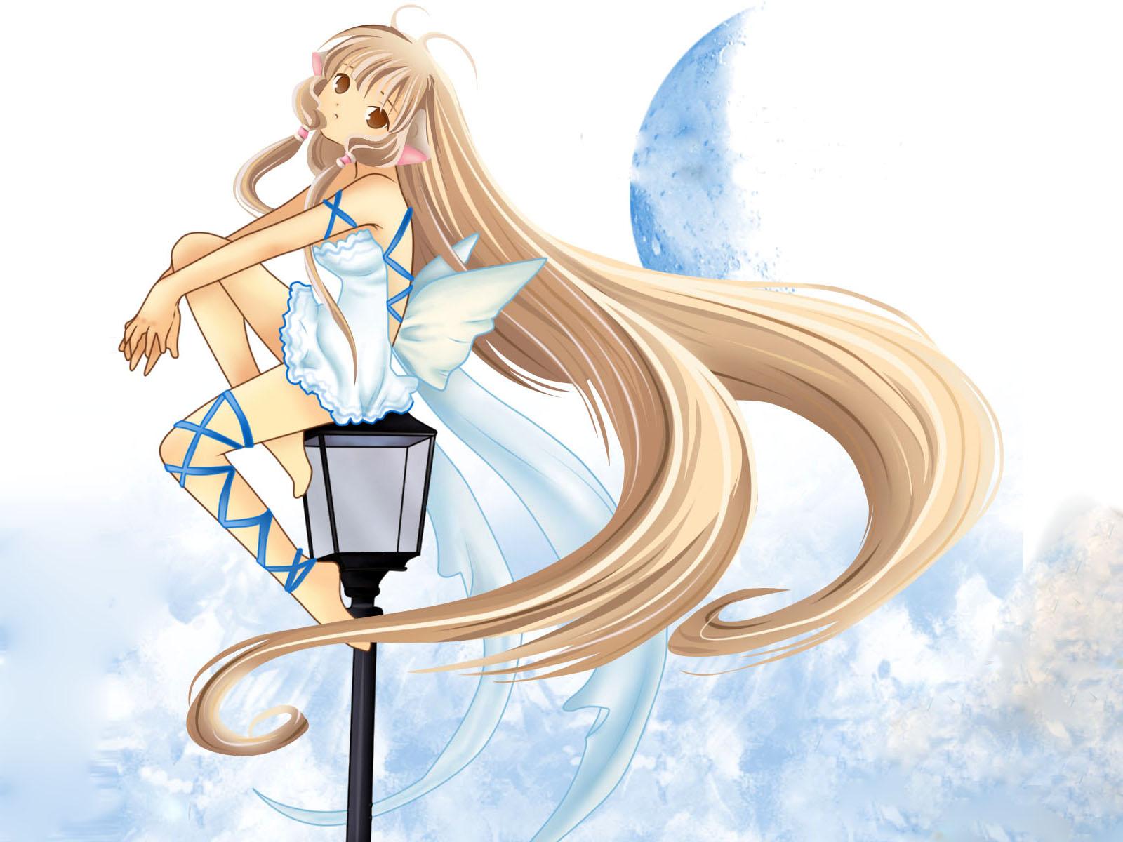 barefoot blonde_hair chii chobits dress lolita_fashion long_hair