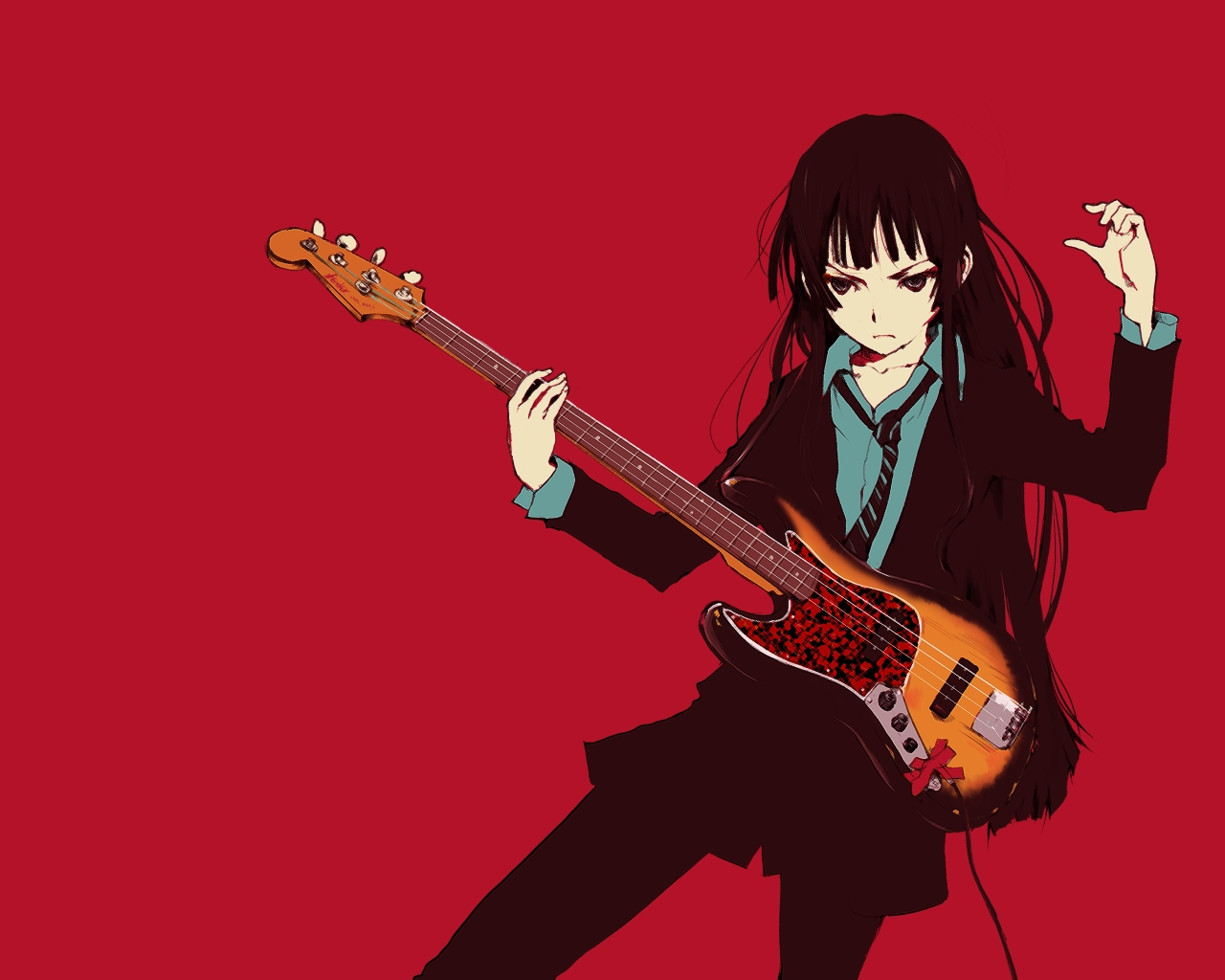 akiyama_mio guitar instrument k-on! red