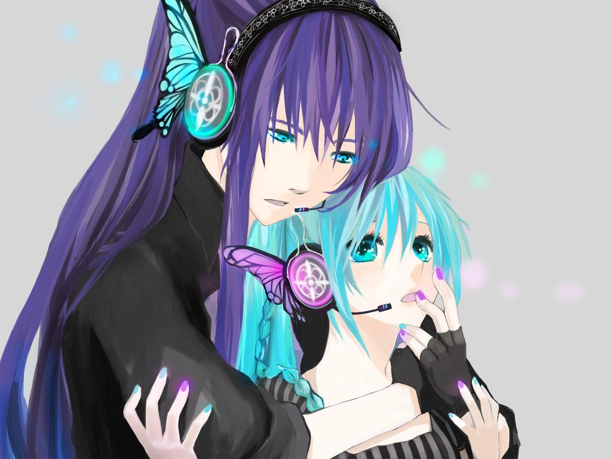hatsune_miku headphones kamui_gakupo magnet_(vocaloid) male twintails vocaloid