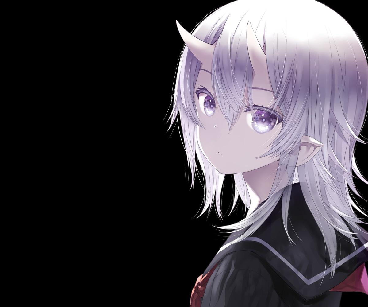 black capriccio close demon gray_hair horns original pointed_ears purple_eyes school_uniform short_hair